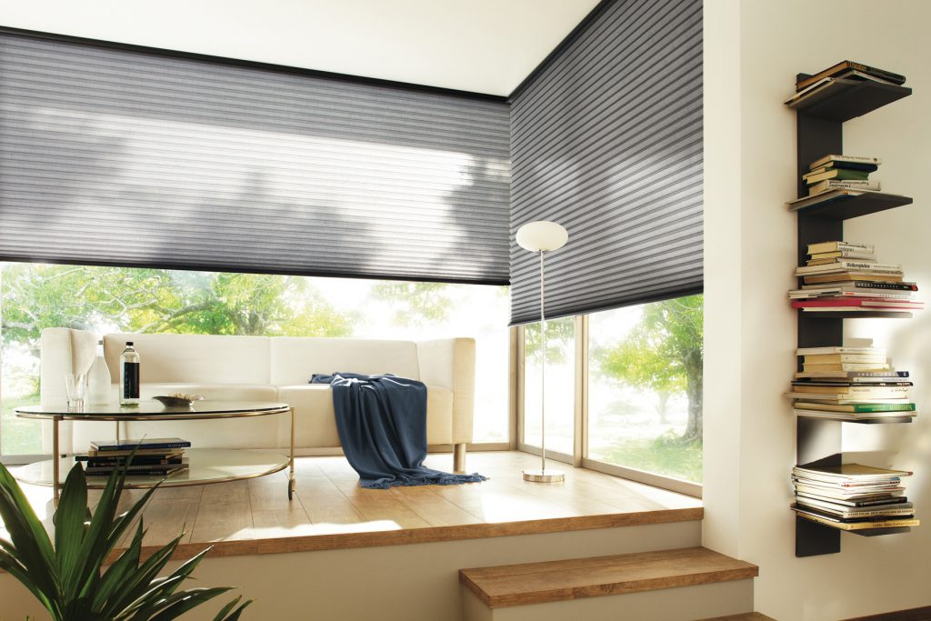 Rum med soffa och stora fönster med grå solskydd