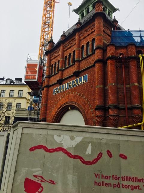 4 st stora invändiga segel och invändiga screenrullgardiner, Östermalms Saluhall